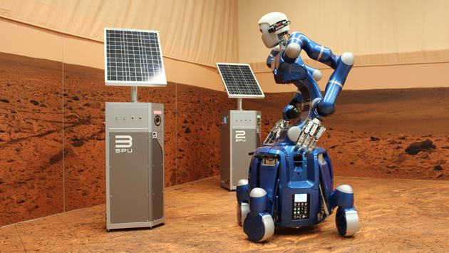 In ambienti ostili alla vita come la superficie del pianeta Marte, robot telecomandati come Justin diventano indispensabili.