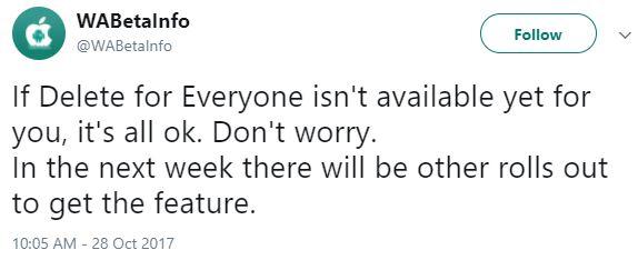 Tweet WABetaInfo messaggi cancellabili
