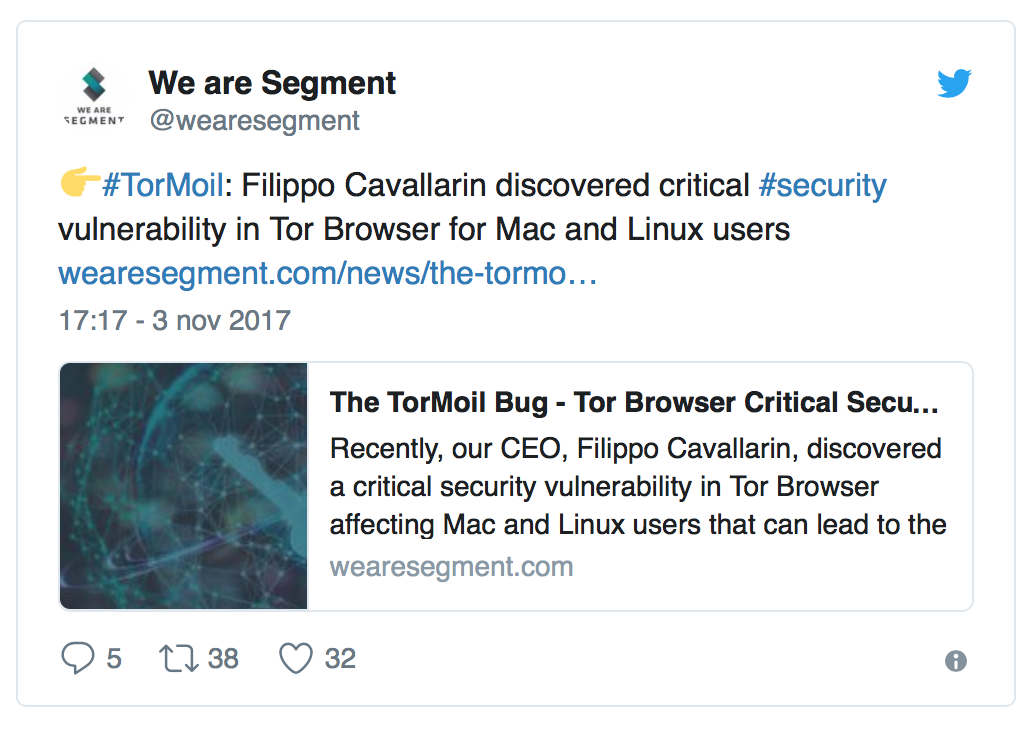 La vulnerabilità, scoperta da una società di sicurezza informatica Italiana, sembra essere stata risolta con gli ultimi aggiornamenti del Tor Browser.