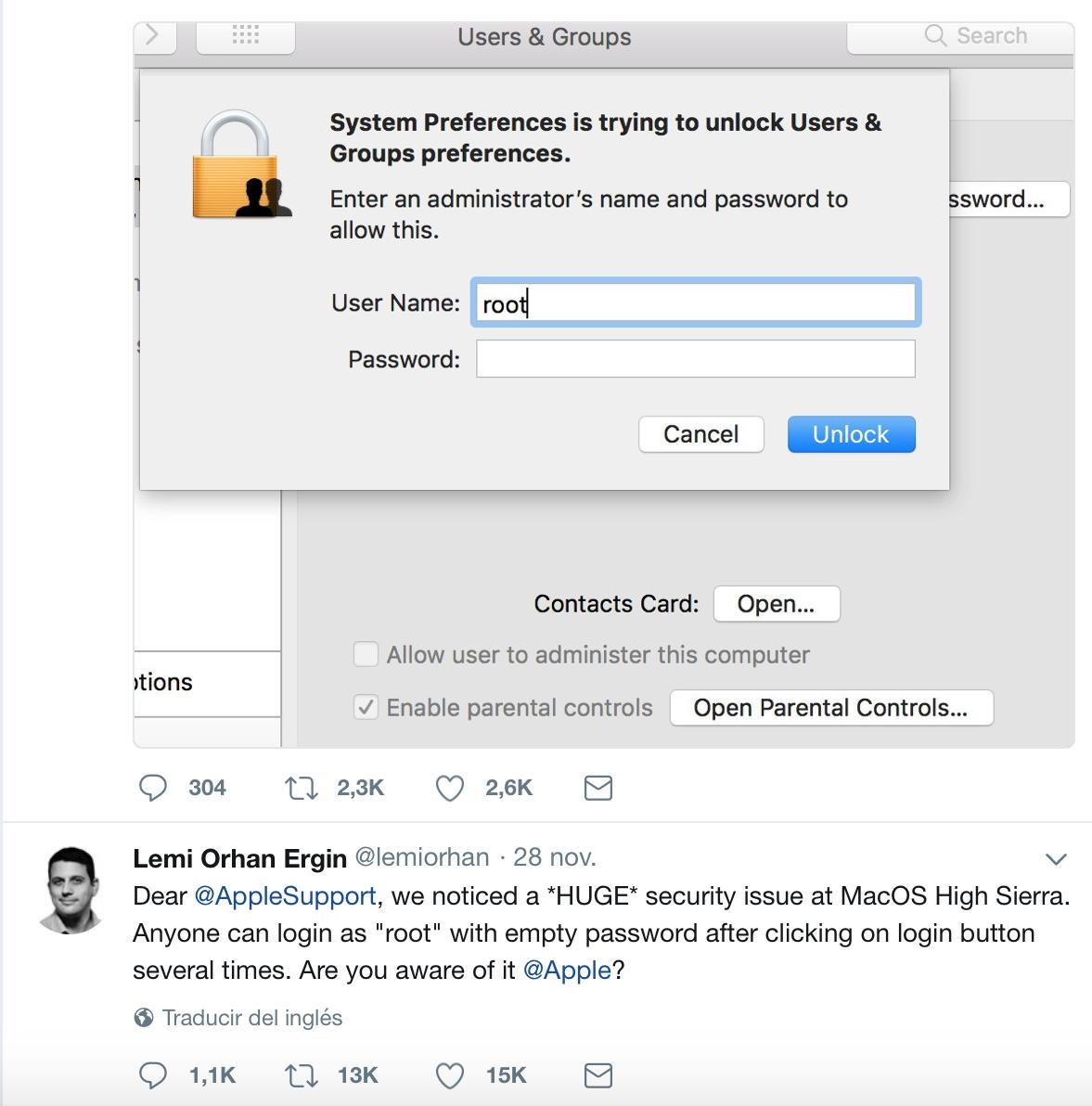 La vulnerabilità, trovata in macOS High Sierra, avrebbe potuto permettere a chiunque di accedere come root. Nelle ultime ore è già stato rilasciato da Apple l'aggiornamento di sicurezza.