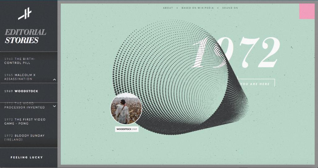 Screen dal sito histography.org Rappresentazione a spirale (Editorial Stories) degli eventi.