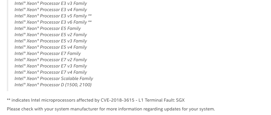 Screen Dal Sito Intel. Elenco dei prodotti colpiti da Foreshadow e Foreshadow-NG. Credits: www.intel.com
