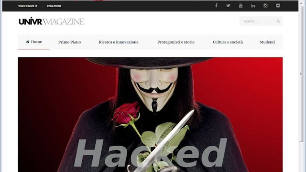 Sito dell'Università degli studi di Verona defacciato dagli hacker di Anonymous
