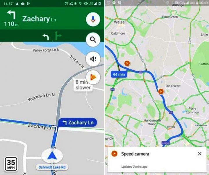 Le prime immagini delle nuove funzionalità di Google per segnalare autovelox e limiti di velocità.