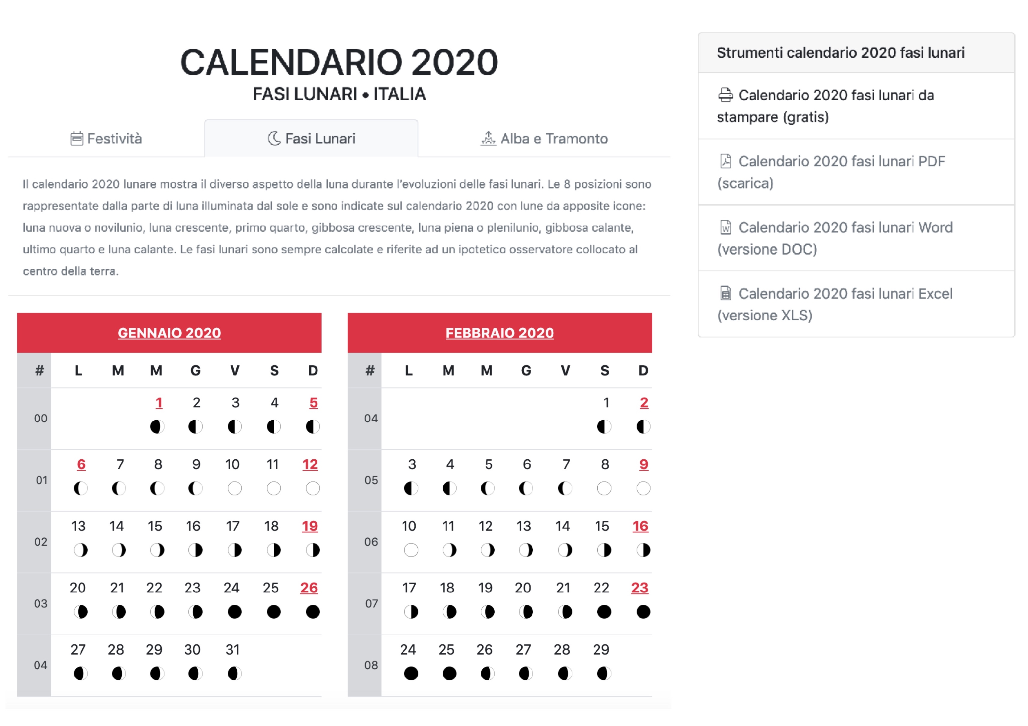Calendario Lunare 2020 Parto.Fasi Lunari Piu Vicine Con Calendario 2020 Close Up