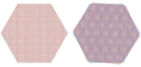 Se a un foglio di grafene se ne sovrappone un altro sfasato per un leggera rotazione (a destra) si possono creare le condizioni per rendere la struttura isolante o superconduttrice. (Cortesia Yuan Cao et al.)