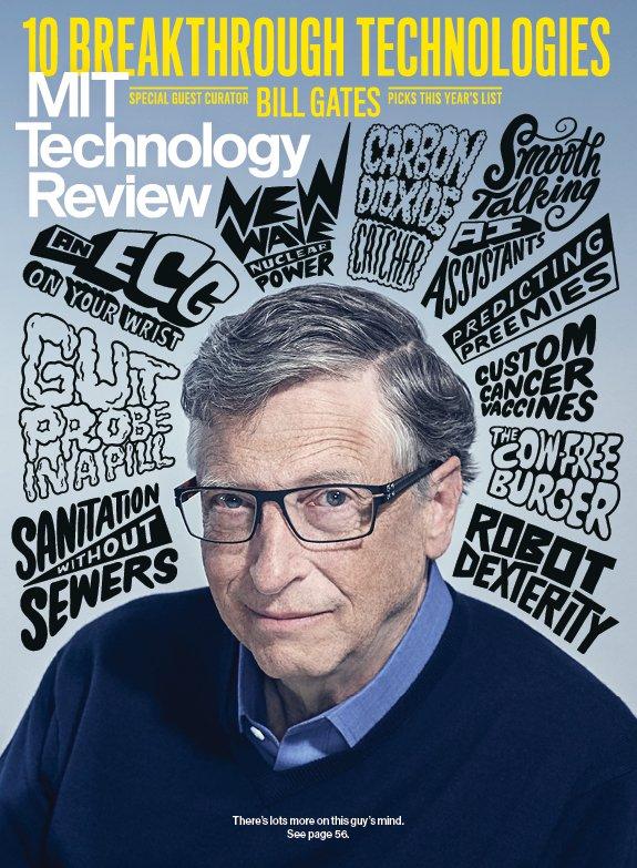 La copertina del numero del magazine dell'MIT dedicata alla technology review di Bill Gates. Credits: technologyreview.com