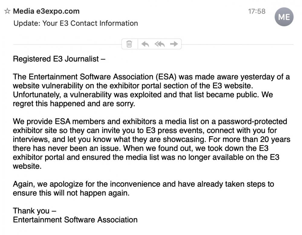 La lettera di scuse da parte di ESA, inviata a tutti gli accreditati all'E3. Credits: leganerd.com