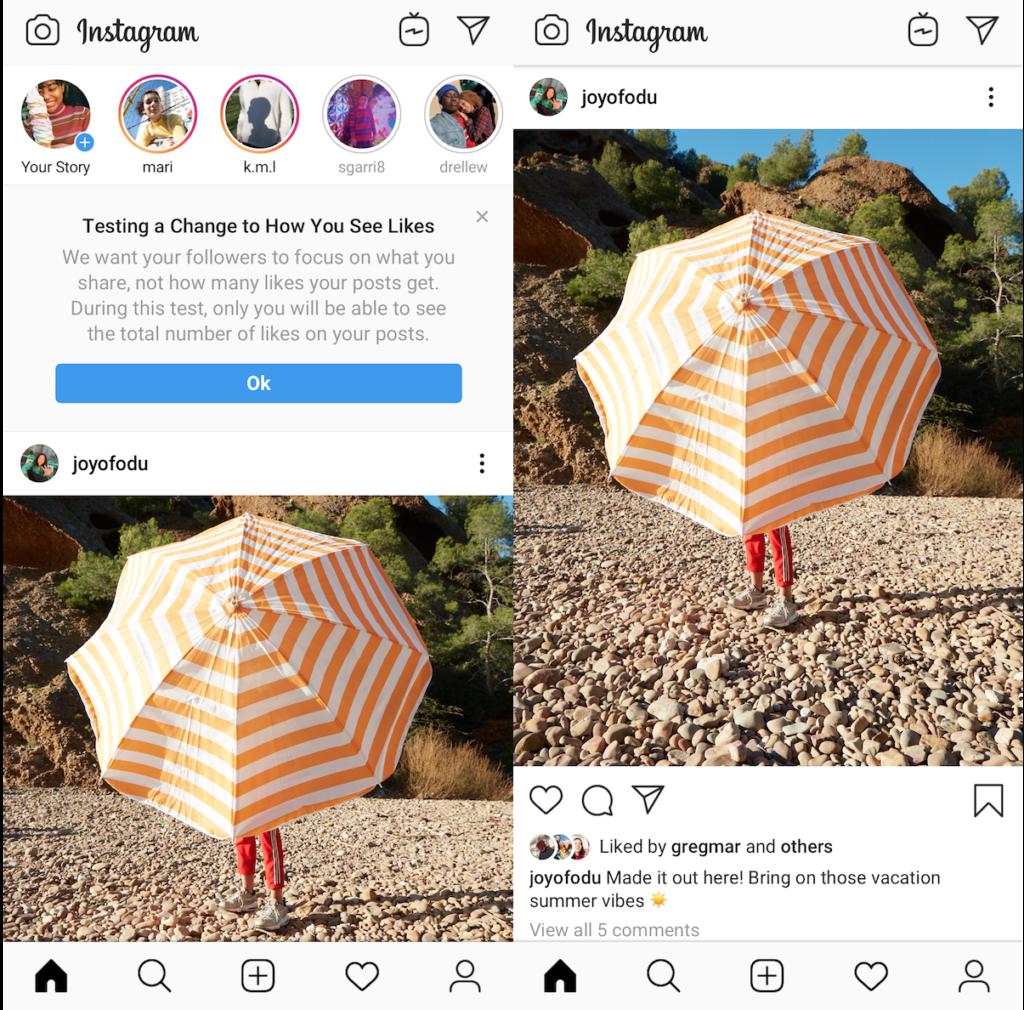 La scomparsa dei like su Instagram. Credits: techcrunch.com