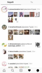 Sezione dei seguiti all'interno dell'app di Instagram