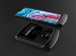 Il nuovo Motorola Razr, chiuso a conchiglia, ed esteso. Si può notare la differenza di dimensioni.