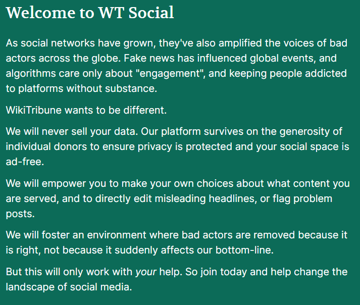Welcome page di Wt:Social