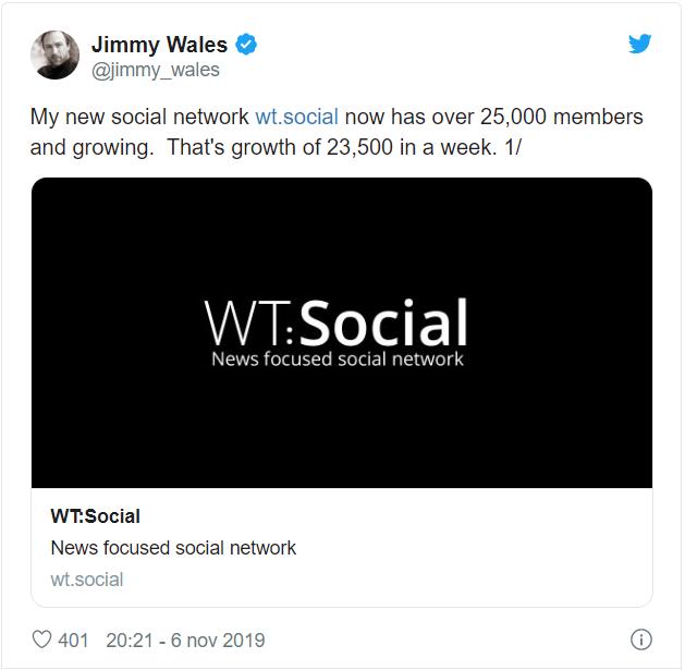 Uno dei tweet di Wales su Wt:social
