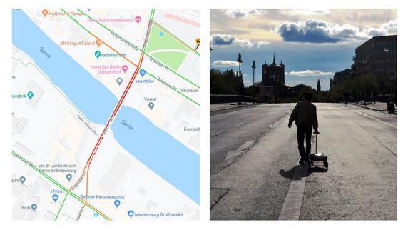 Il tratto di strada congestionato da Wecker con gli smartphone. Credits: dday.it