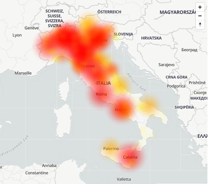 Mappa delle segnalazioni dei disservizi TIM alle ore 14:30