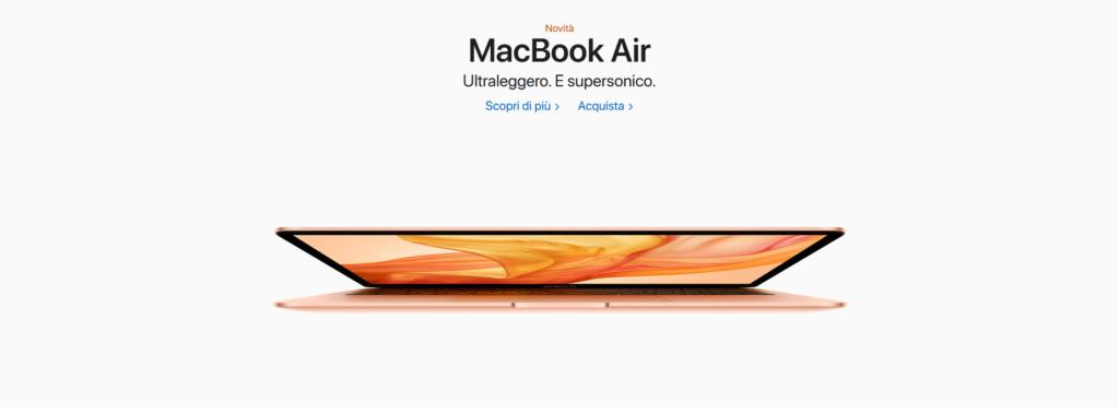 Come viene presentato sul sito il nuovo MacBook Air di Apple