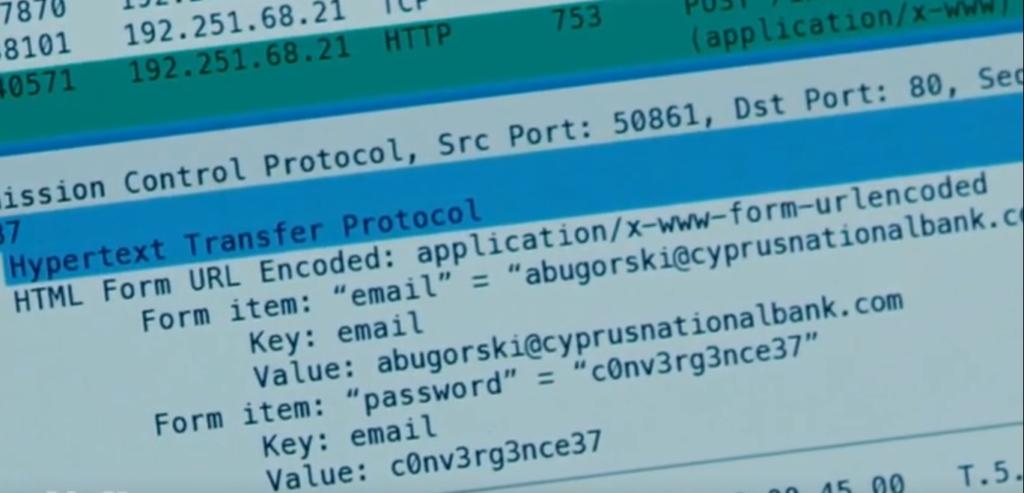 Il dettaglio della sessione SSL della vittima, con le credenziali cercate da Elliot.