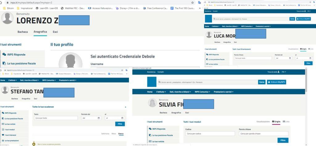 Alcuni profili ai quali si accedeva autenticandosi con i propri dati sul sito dell'INPS