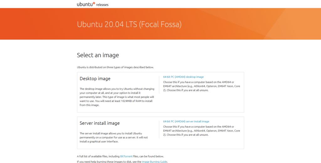 Sito ufficiale della release di Ubuntu 20.04 Focal Fossa da cui si può scegliere l'immagine desktop o server