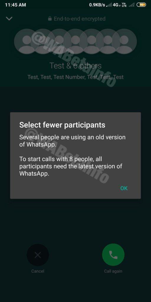WhatsApp Videochiamate 8 Partecipanti