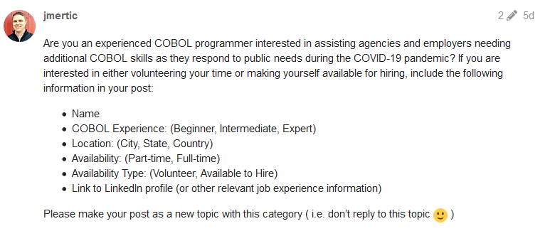 Il post principale del forum dove si ricercano programmatori in COBOL.