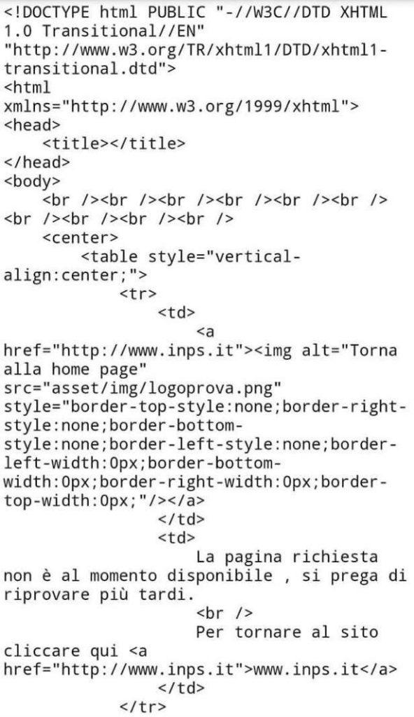 Come veniva visualizzata la home page dell'INPS questa mattina, dopo il crash del sito