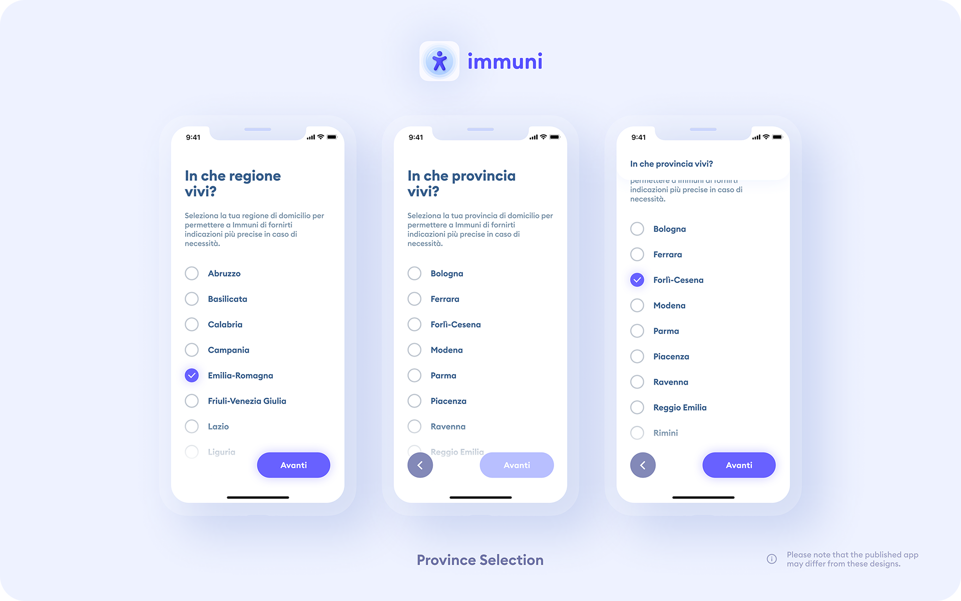 Immuni - ProvinceSelection