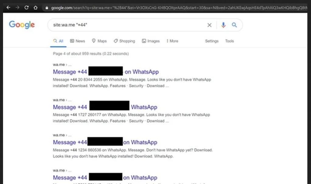 I numeri degli account WhatsApp visibili in chiaro sul web. Credits: android central