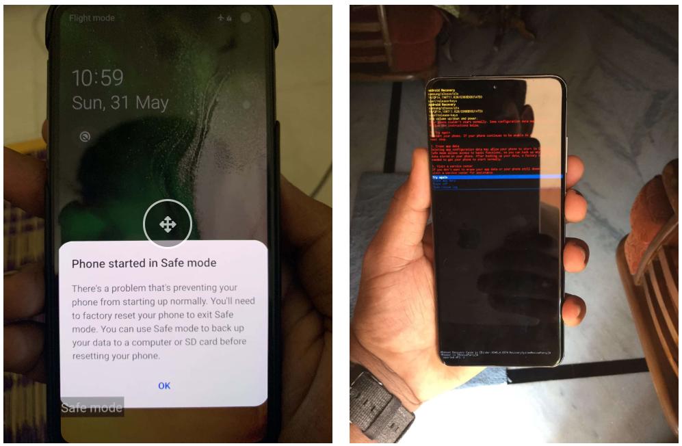 Due smartphone Android che soffrono del bug dell'immagine non-sRGB. Credits: drcommodore.it
