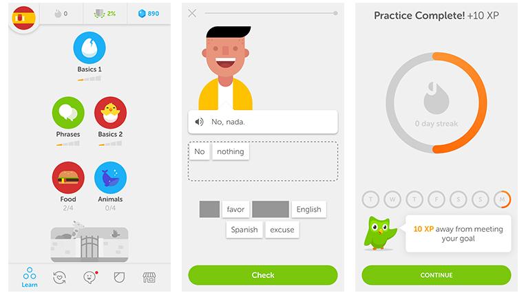 """Un esempio di Gamification nell'app """"Duolingo"""". Credits: www.designsurvivor.com"""