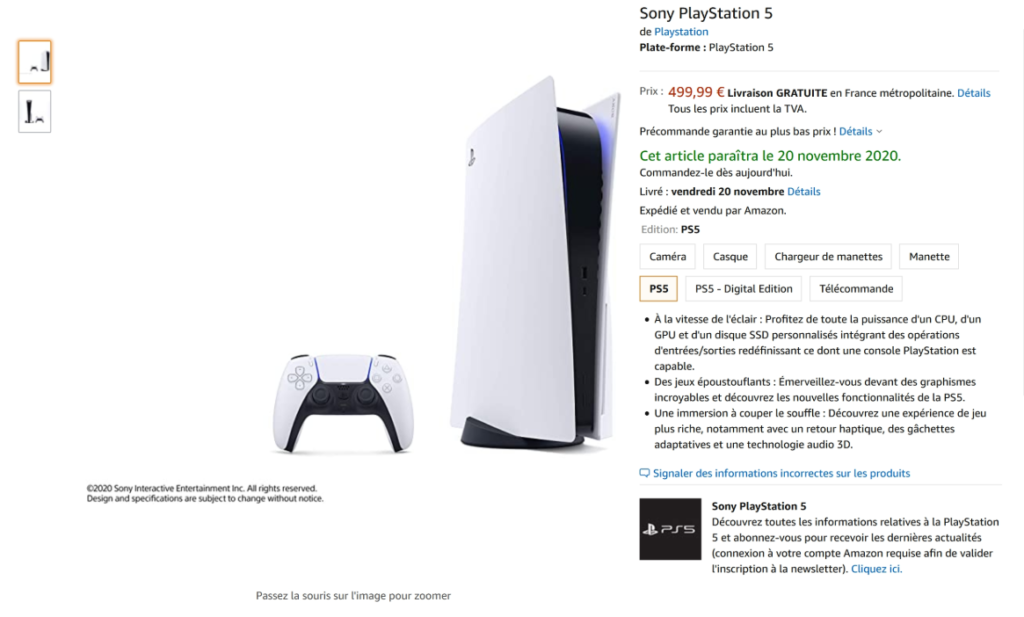 La pagina Amazon France per la PS5. Credits: MaximilienH on reddit.
