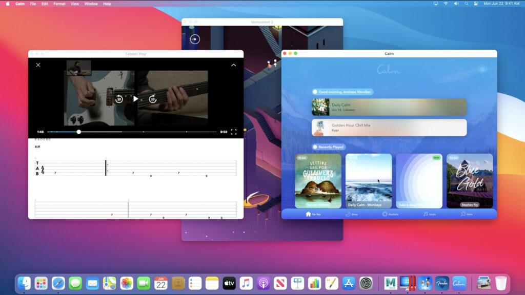 Monument Valley, Fender Play e Calm eseguite su un Mac con ARM. Credits: macworld.com