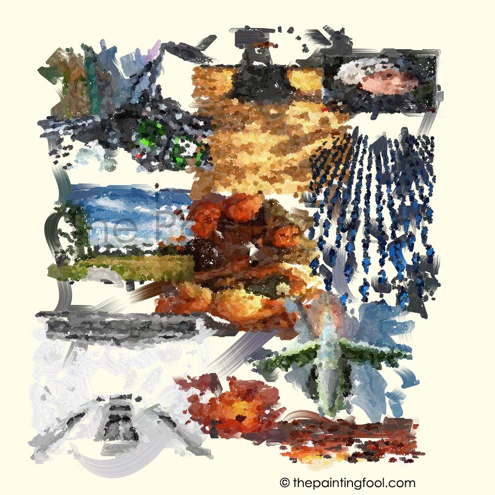 L'immagine creata da The Painting Fool analizzando l'articolo sulla guerra in Afghanistan.