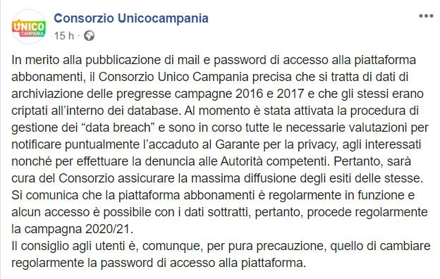 Il post su Facebook di Unico Campania col quale il consorzio avvisa gli utenti dell'attacco.