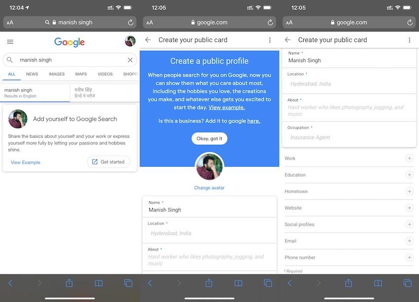 Il form usato per creare le Google People Card. Credits: TechCrunch