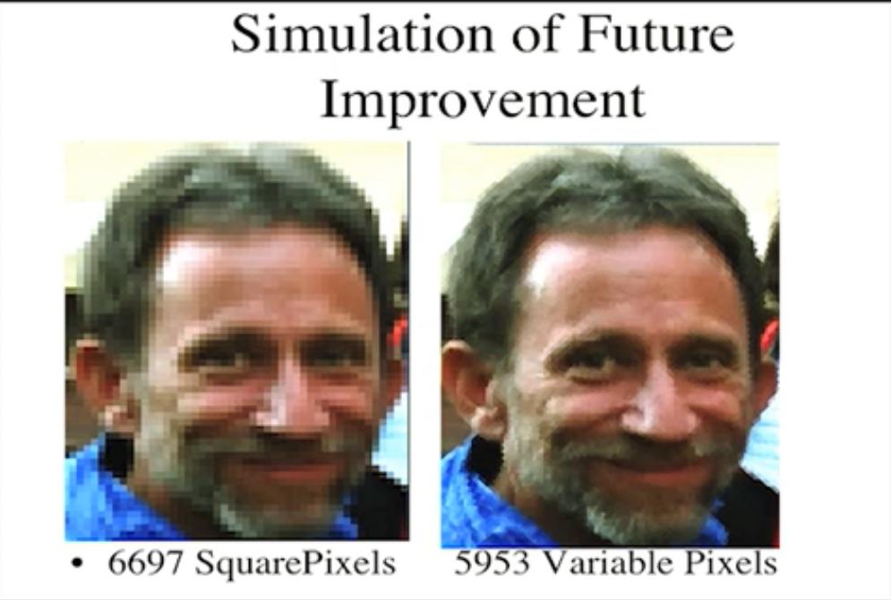 La differenza di renderizzazione di un'immagine con pixel quadrati e di forma variabile. Credits: Kirsch presentation from petapixel.com