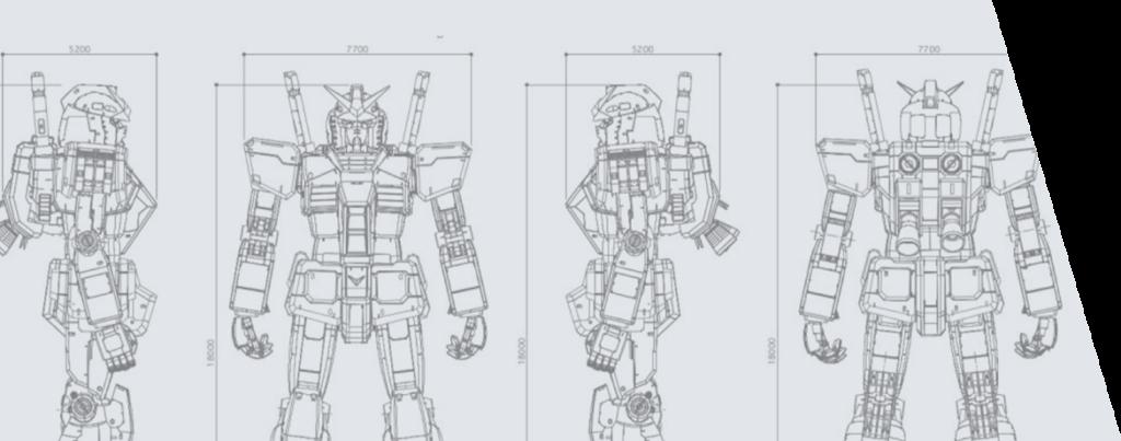 Modello schematico del Gundam a grandezza reale