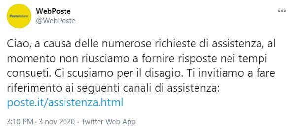 Il post Twitter pubblicato da Poste Italiane per scusarsi con i propri utenti per il mancato accesso alla propria identità digitale mediante SPID, nonostante il proprio protocollo