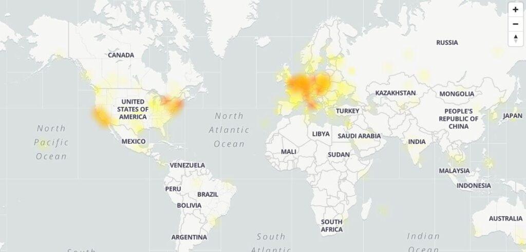 Aree geografiche in cui si è verificato il down di YouTube