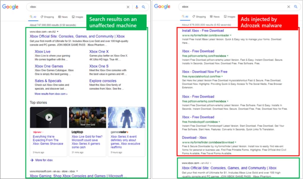 Ricerche di un browser infettato dal malware Adrozek. Credits: Microsoft
