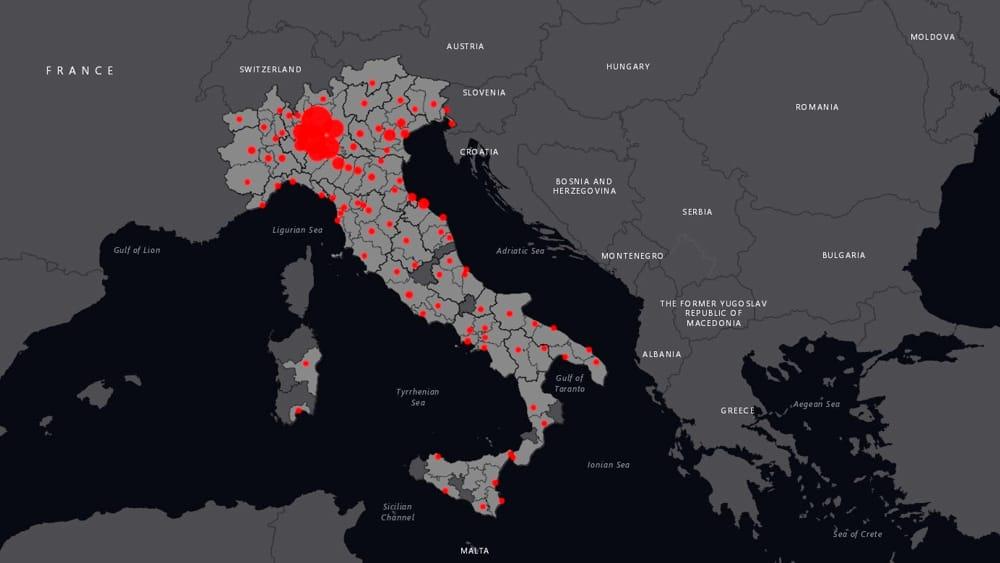 Innovazione di informatica e tecnologia in Italia: la mappa interattiva del coronavirus nel 2020. Credits: Brescia Today