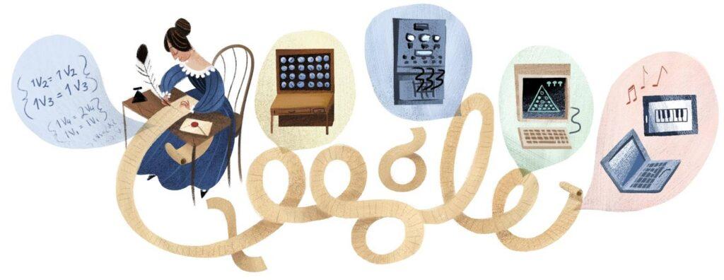 Il doodle di Google dedicato al 197esimo compleanno di Ada Lovelace. Credits: Libertad Digital