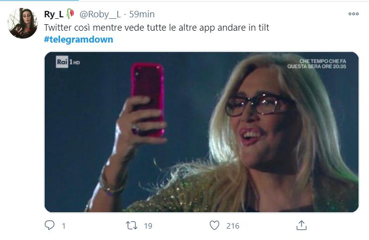 La reazione degli utenti Twitter al down di Telegram.