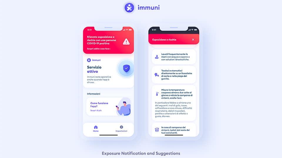 Esempi di schermate di Immuni. Credits: Regione Abruzzo
