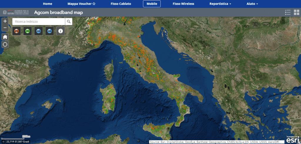 Mappa della copertura 4G sul territorio nazionale