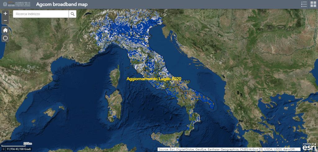 Credit: Map AGCOM. Mappa della copertura FWA sul territorio nazionale