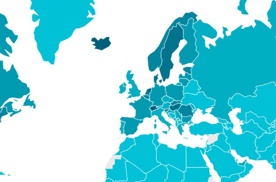 Mappa interattiva disponibile sul sito del Worldwide broadband speed league 2020