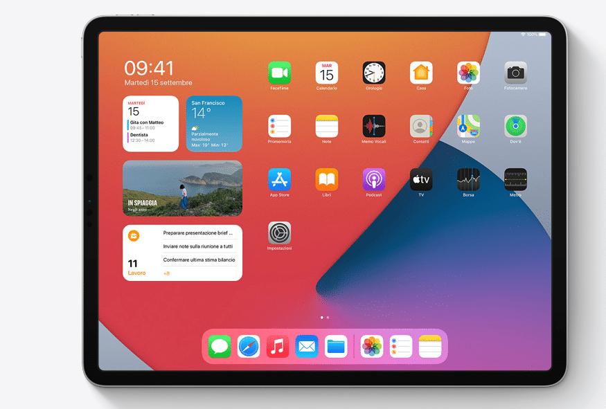 La nuova visualizzazione degli widget sugli ultimi iPad con iPadOS14. Credits: Apple