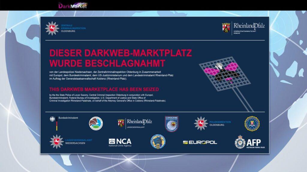 L'avviso di chiusura di darkmarket, tra i più grandi mercati neri del deep web. Credits: Europool
